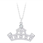 Disney Crislu Necklace - Princess Crown - Platinum