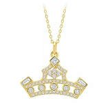 Disney Crislu Necklace - Princess Crown - Gold