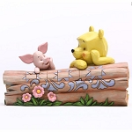Disney Traditions by Jim Shore Figurine - Pooh & Piglet on a Log - Truncated Conversation