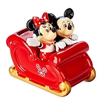 Disney Salt and Pepper Shaker Set - Mickey and Minnie Mouse Holiday Sleigh