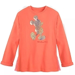 Disney Women's Shirt - Mickey Mouse Reversible Sequin Pullover - Coral