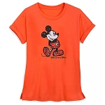 Disney Women's Shirt - Mickey Mouse Sequined T-Shirt - Coral