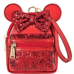 Disney Loungefly Bag - Minnie Mouse Sequined Mini Backpack Wristlet - Red