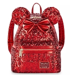 Disney Loungefly Bag - Minnie Mouse Sequined Mini Backpack - Red