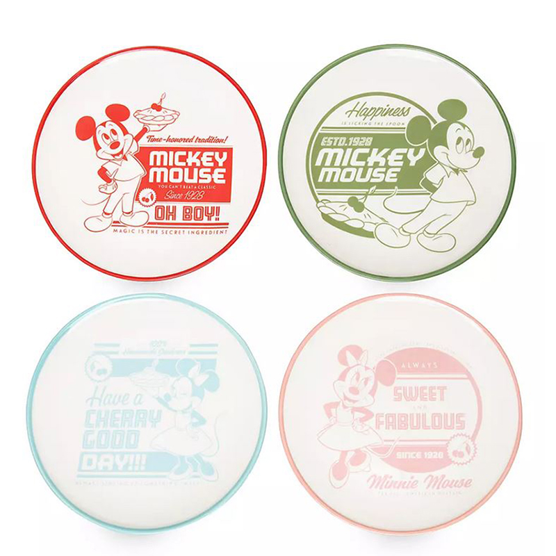 Disney Cake Plate Set - Mickey and Minnie Mouse - Retro