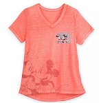 Disney Women's Shirt - Walt Disney World - Mickey & Minnie Mouse - Coral