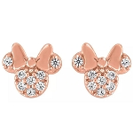 Disney Rebecca Hook Earrings - Minnie Mouse Icon - Pavé Rose Gold