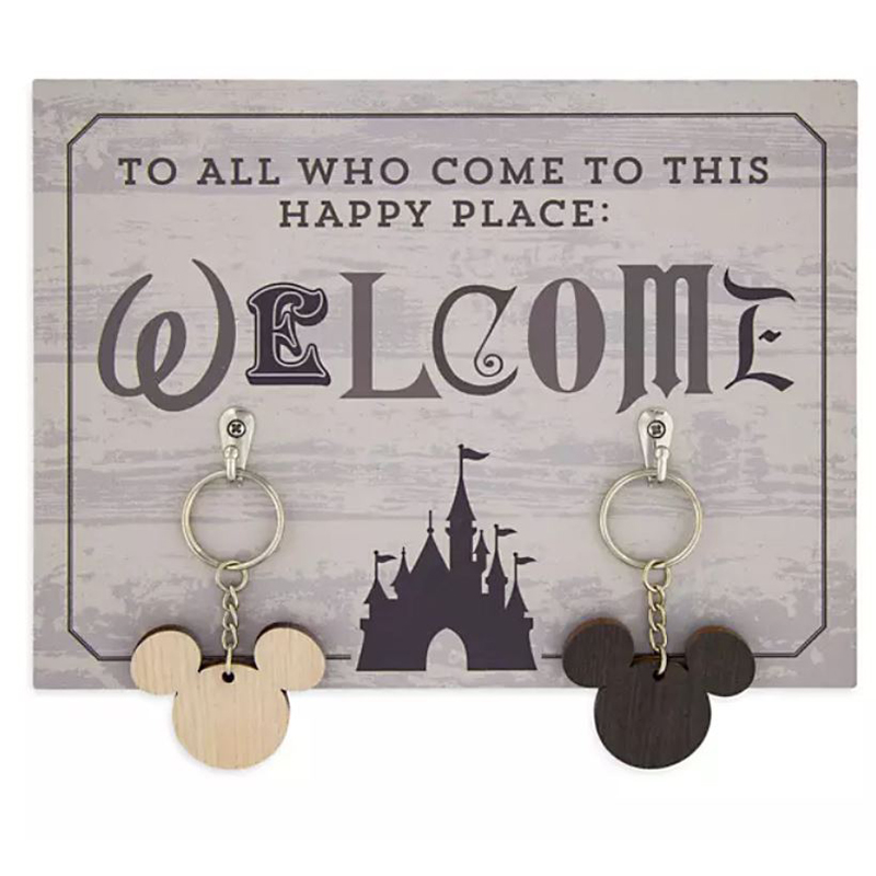 Disney Key Holder and Keychain Set - Welcome To All Who Come To This Happy Place