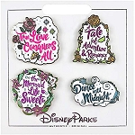 Disney 4 Pin Set - Princess Quotes Aurora, Belle, Ariel, Cinderella