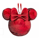 Disney Sequined Ornament - Minnie Mouse Icon - Red