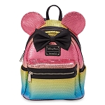 Disney Loungefly Mini Backpack - Minnie Mouse Sequined Rainbow