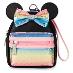 Disney Parks Loungefly Wristlet Backpack - Minnie Mouse Sequined Pastel Rainbow