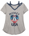 Disney Women's Shirt - Mickey Mouse USA