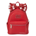 Disney Parks Loungefly Backpack - Minnie Mouse - Red Sequin Bow