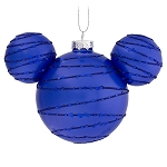 Disney Glass Ornament - Mickey Mouse Icon - Cobalt