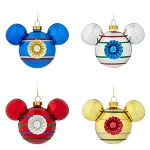 Disney Set of 4 Mini Glass Ornaments - Mickey Mouse Icon