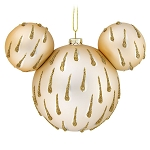 Disney Glass Ornament - Mickey Mouse Icon - Gold Drops