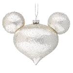 Disney Glass Ornament - Mickey Mouse Icon - Silver Ice