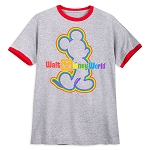 Disney Mens Ringer Shirt - Mickey Mouse - Rainbow Disney Collection