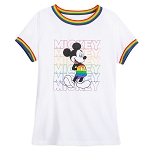 Disney Woman's Ringer Shirt - Mickey Mouse - Rainbow Disney Collection