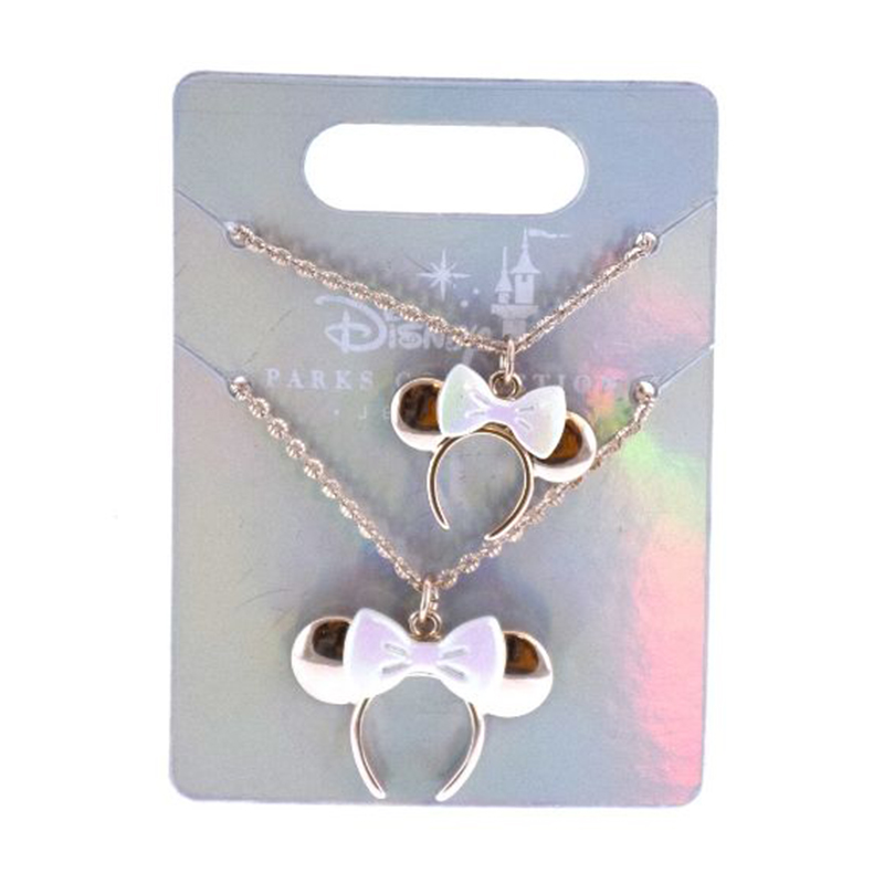 Disney Necklace Set - Disney Parks Collection - Minnie Mouse Bow - Rose Gold
