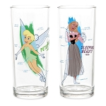 Disney Drinking Glass Set - Ink & Paint - 40's & 50's - Tink - Bambi - Aurora - Mr Toad