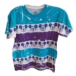 Disney Woman's Shirt - Mickey Faces - Tye Dye - Blue Shoulders