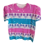 Disney Woman's Shirt - Mickey Faces - Tye Dye - Pink Shoulders