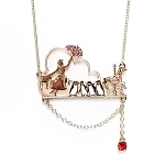 Disney Necklace - Mary Poppins Umbrella - 18'' Gold Tone