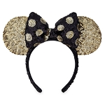 Disney Minnie Ear Headband - Gold Sequined Ears with Black / Gold Bow