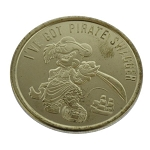 Disney World Pocket Token - Goldtone - Magic Kingdom - Pirates of the Caribbean - Mickey Mouse
