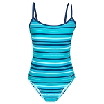 Disney Women's Swimsuit - Minnie Mouse Striped Swimsuit - Blue