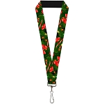 Designer Lanyard - Green Christmas Tree with Lights Bows and Candy Canes