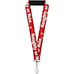 Designer Lanyard - Red Santa's Naughty or Nice List with White Snowflakes