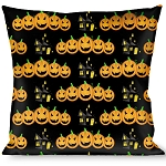 Designer Decorative Throw Pillow - Happy Halloween - Jack O' Lanterns and Haunted House