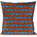 Designer Decorative Throw Pillow - Happy Halloween - Jack O' Lanterns Electric Blue