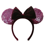 Disney Ear Headband - Minnie Mouse - Sequined Ears w/ Velvet Bow - Wine