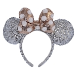 Disney Ear Headband - Minnie Mouse - Silver with Rose Gold Bow