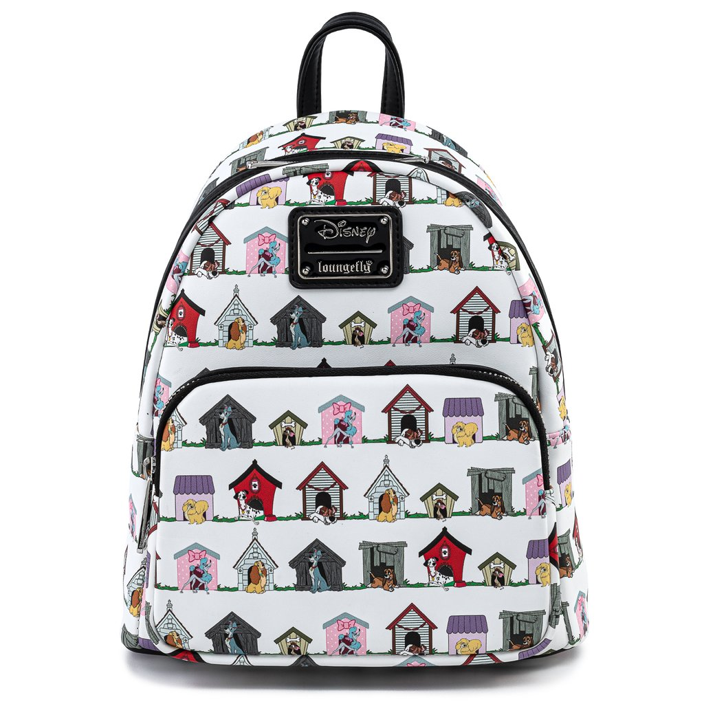 $ New LOUNGEFLY DISNEY School Bag Backpack LADY AND THE TRAMP Faux Leather DOG