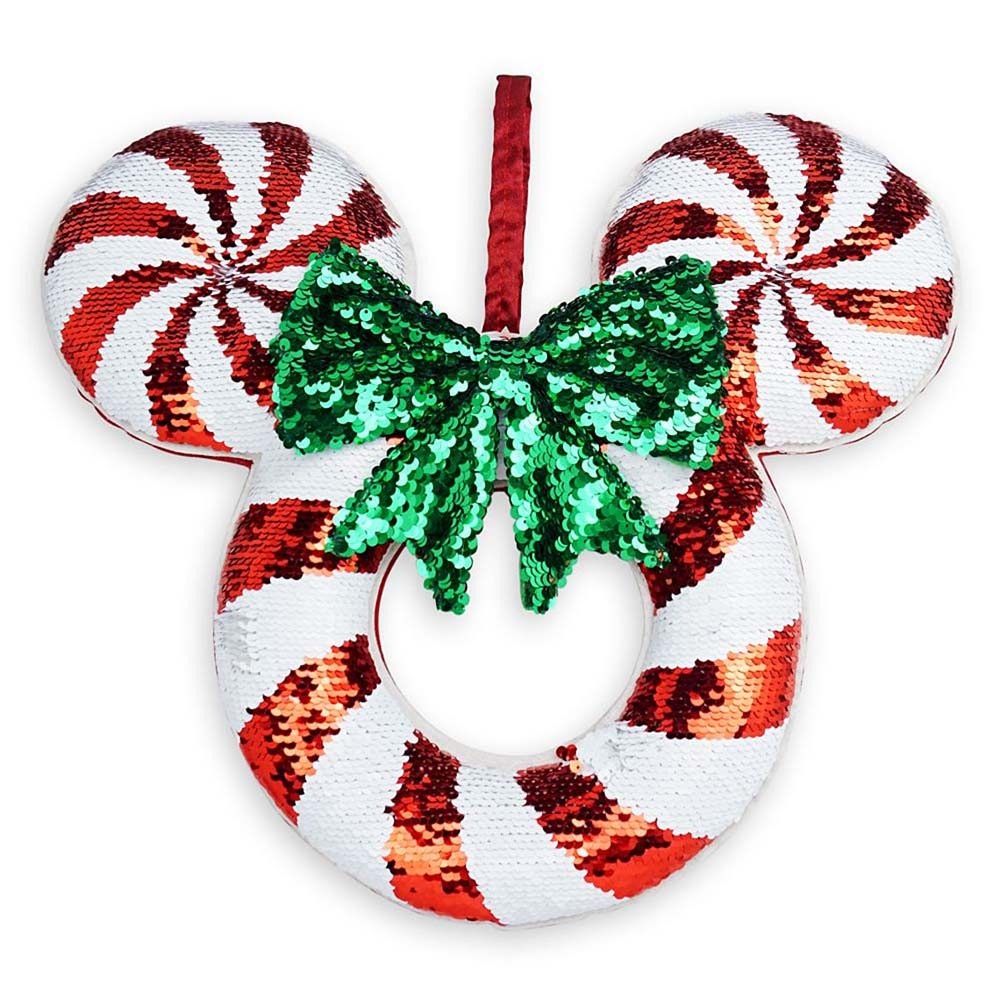 Disney Wreath - Sequined Peppermint Mickey Icon Door Hanger