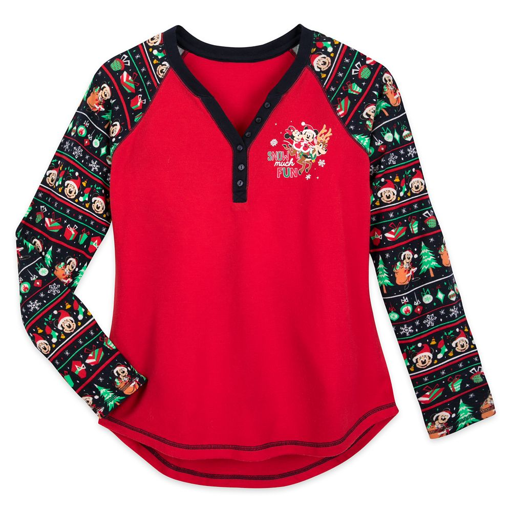 Disney Ladies Shirt - Holiday Thermal Mickey and Minnie