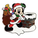 Disney Pin - Santa Mickey Mouse Chimney Holiday Pin