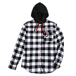 Disney Adult Hoodie - Black and White Plaid - Mickey Mouse