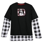 Disney Adult Layered T-Shirt - Black and White Plaid - Mickey Mouse