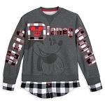 Disney Adult Pullover - Black and White Plaid - Mickey Mouse
