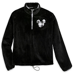 Disney Women's Velvet Pullover - Black and White Plaid - Mickey Mouse Icon