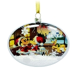 Disney Glass Oval Ornament - Santa Mickey Mouse and Friends