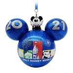 Disney Glass Ball Ornament - Walt Disney World 2021 Logo - Mickey Mouse