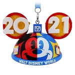 Disney Ear Hat Ornament - Walt Disney World 2021 Logo - Mickey Mouse and Friends