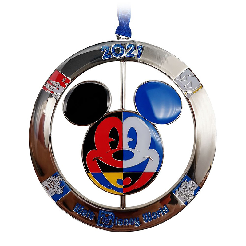 Disney Metal Spinner Ornament - Walt Disney World 2021 Logo - Mickey Mouse Icon